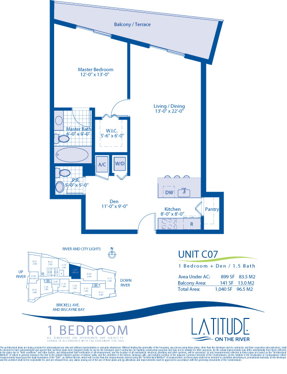 Floor plan for Latitude Brickell Miami, model C07, line 07, 1/1.5 +Den bedrooms, 899 sq ft