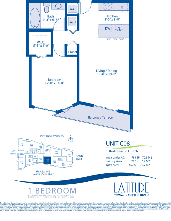 Floor plan for Latitude Brickell Miami, model C08, line 08, 1/1 bedrooms, 783 sq ft