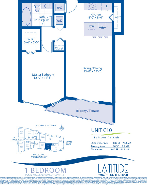 Floor plan for Latitude Brickell Miami, model C10, line 10, 1/1 bedrooms, 832 sq ft