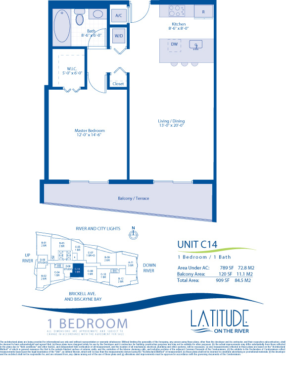 Floor plan for Latitude Brickell Miami, model C14, line 14, 1/1 bedrooms, 789 sq ft