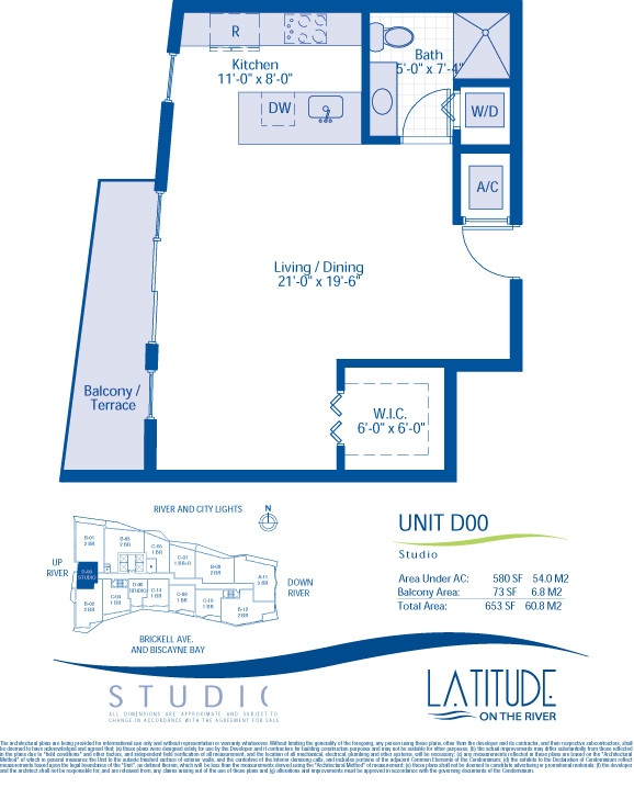 Floor plan for Latitude Brickell Miami, model D00, line 00, 0/1 bedrooms, 580 sq ft