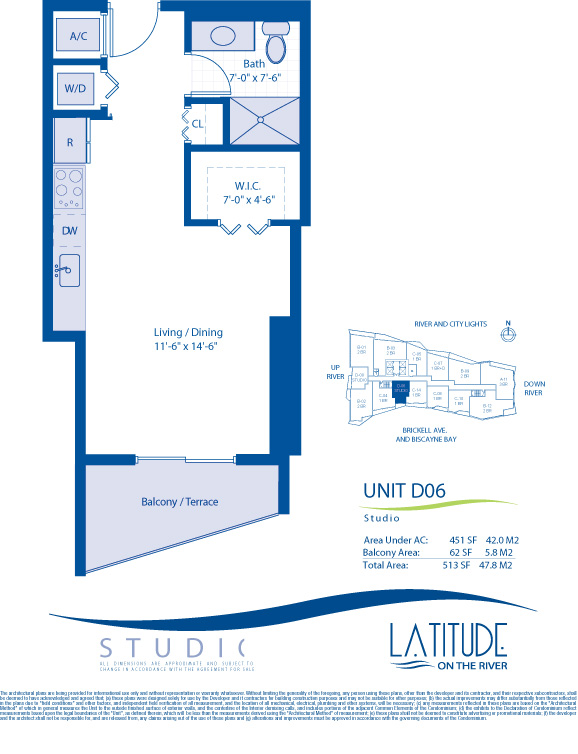 Floor plan for Latitude Brickell Miami, model D06, line 06, 0/1 bedrooms, 451 sq ft
