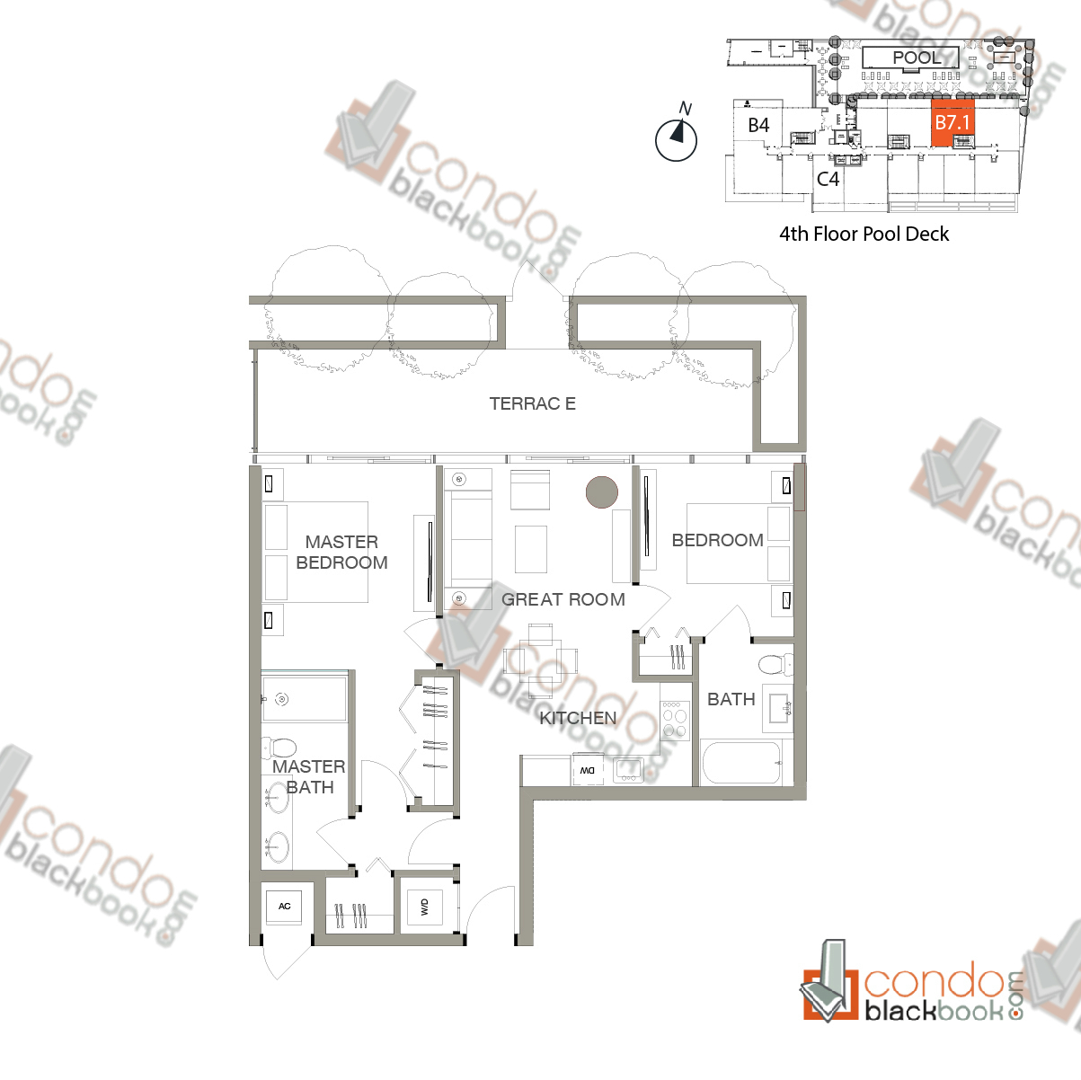 Floor plan for Le Parc at Brickell Brickell Miami, model UNIT B7.1, line B7.1 (Floor 4 Pool Deck), 2/2 bedrooms, 897 sq ft