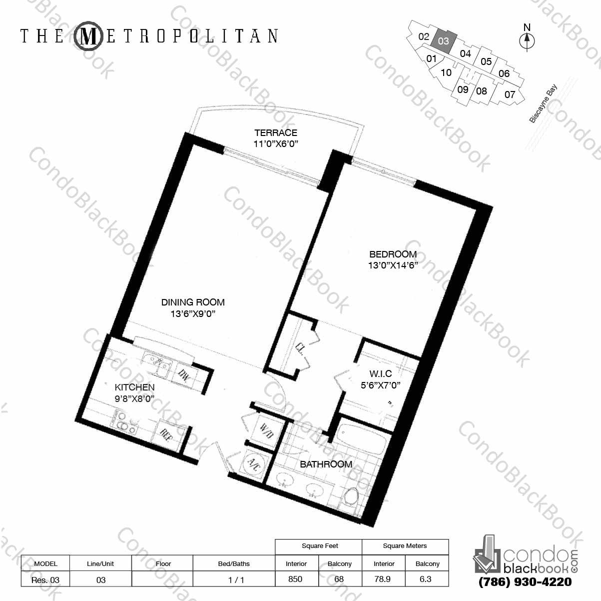 Floor plan for Metropolitan at Brickell Brickell Miami, model Res. 03, line 03, 1 / 1 bedrooms, 850 sq ft