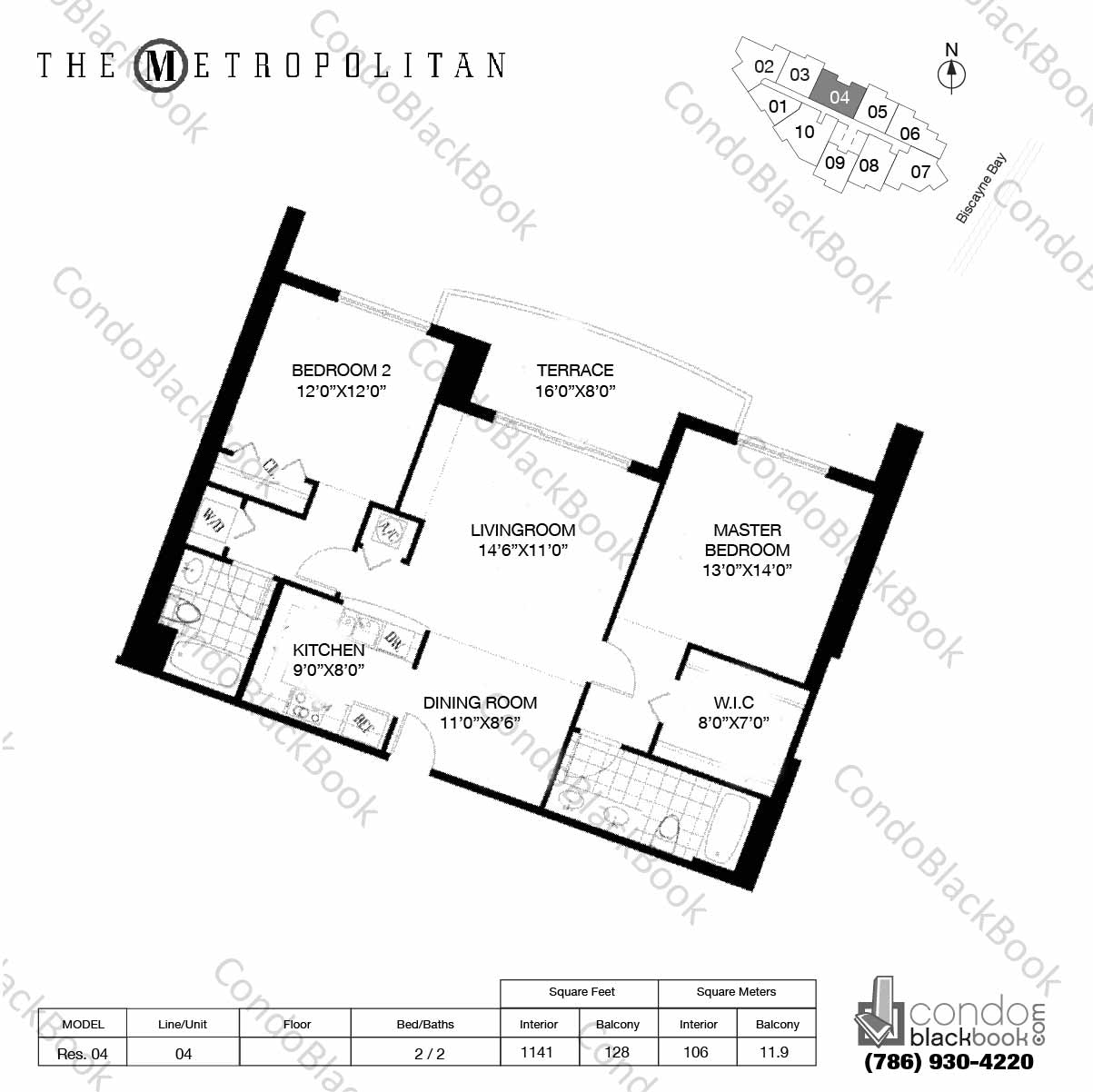 Floor plan for Metropolitan at Brickell Brickell Miami, model Res. 04, line 04, 2 / 2 bedrooms, 1141 sq ft