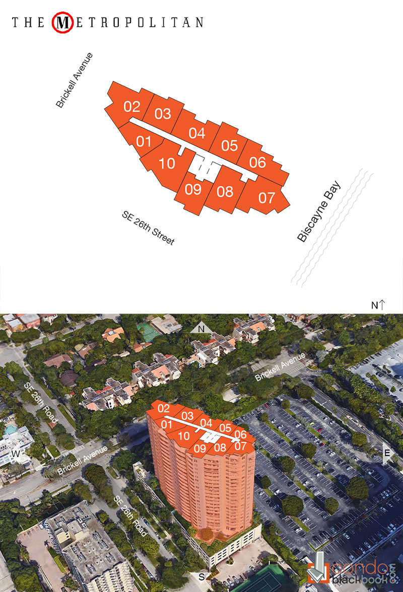 Metropolitan at Brickell floorplan and site plan