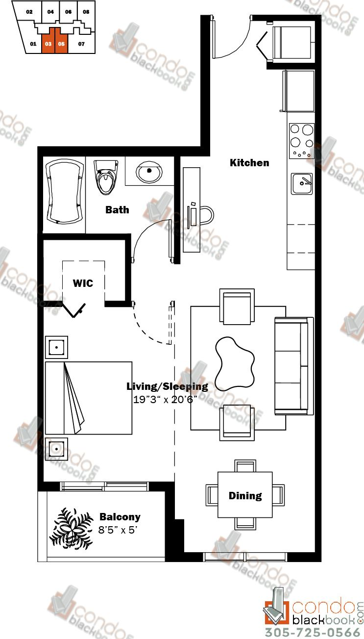 Floor plan for My Brickell Brickell Miami, model 01, line 03, 05, Studio/1 bedrooms, 600 sq ft