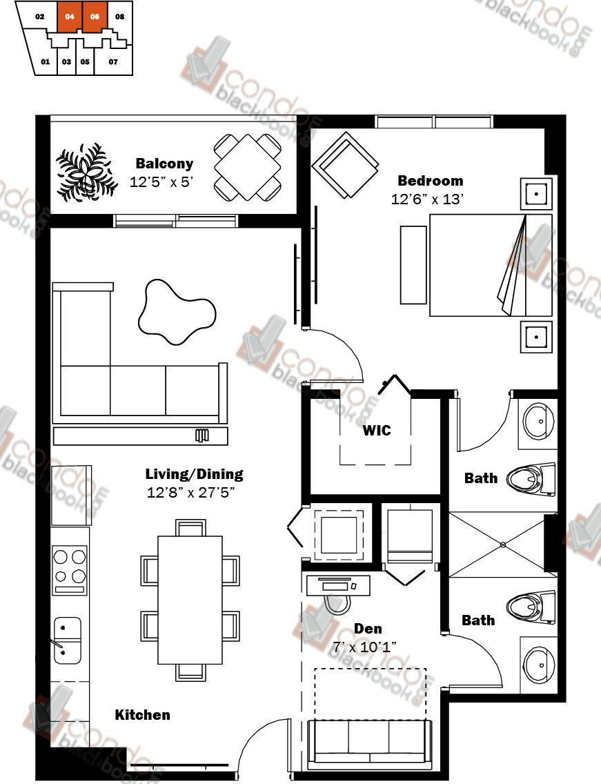 Floor plan for My Brickell Brickell Miami, model 02, line 04, 06, 1/1.5+Den bedrooms, 790 sq ft