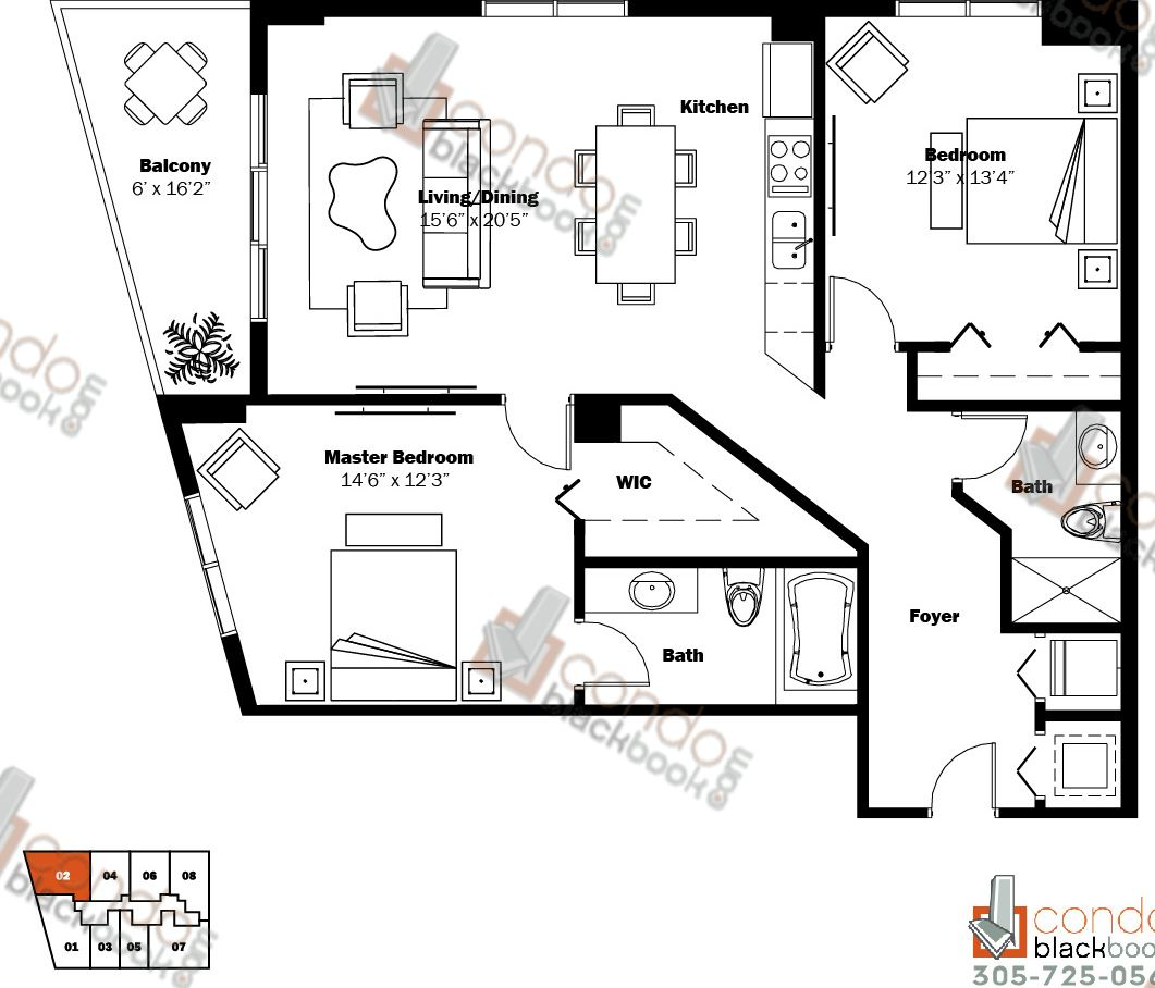 Floor plan for My Brickell Brickell Miami, model 03, line 02, 2/2 bedrooms, 1,135 sq ft