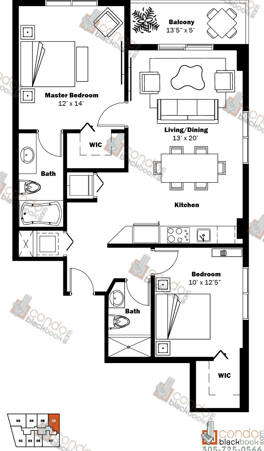 Floor plan for My Brickell Brickell Miami, model 04, line 08, 2/2 bedrooms, 955 sq ft