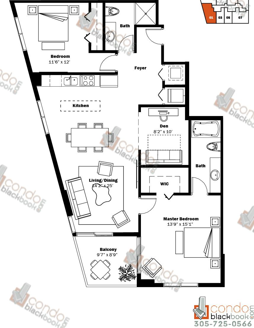 Floor plan for My Brickell Brickell Miami, model 05, line 01, 2/2+Den bedrooms, 1,220 sq ft