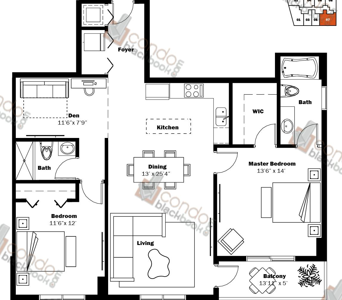 Floor plan for My Brickell Brickell Miami, model 06, line 07, 2/2+Den bedrooms, 1,196 sq ft