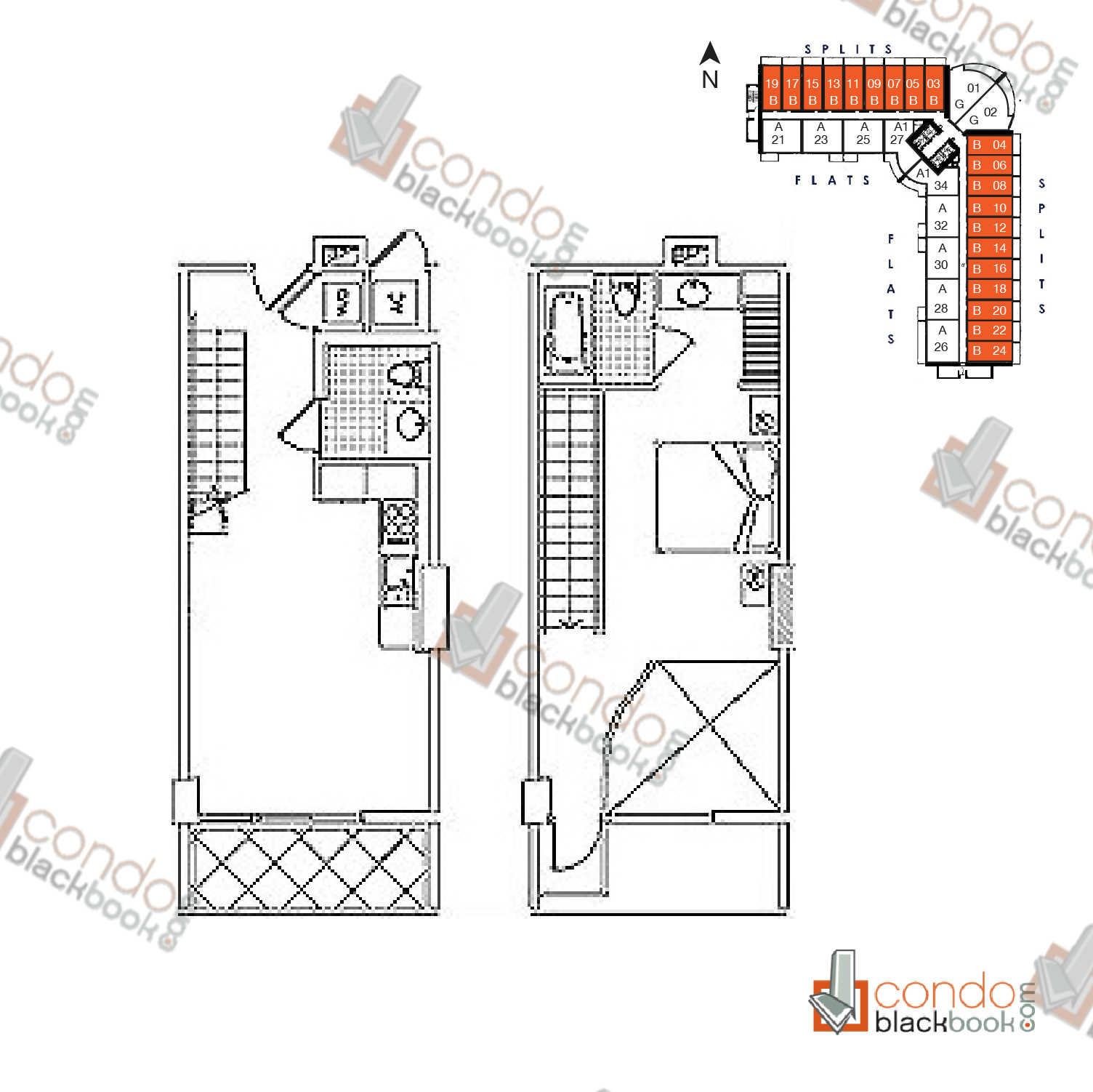 Floor plan for Neo Vertika Brickell Miami, model Split B, line 03-24, 1/1.5 bedrooms, 741 sq ft
