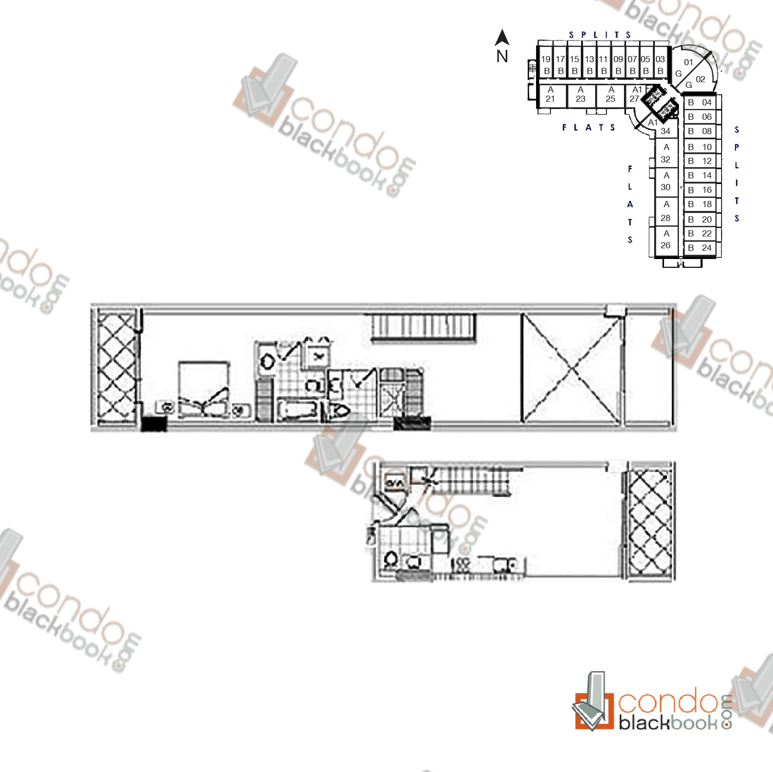 Floor plan for Neo Vertika Brickell Miami, model Split C, 2/2 bedrooms, 1,065 sq ft