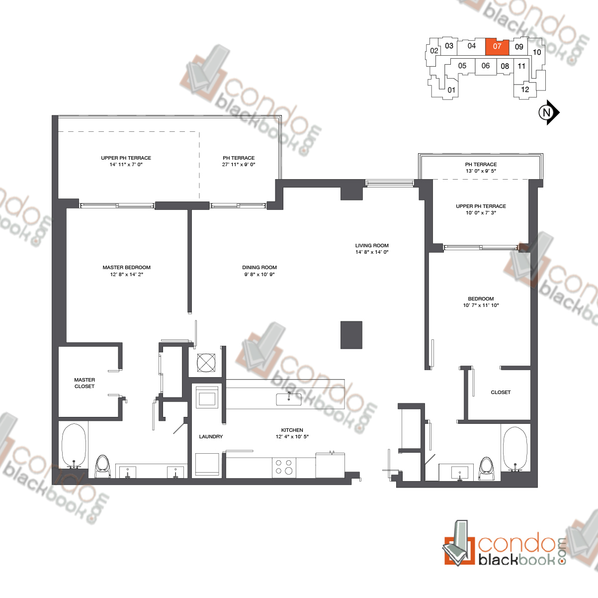Floor plan for Nine at Mary Brickell Village Brickell Miami, model Penthouse 07, line 07, 2/2 bedrooms, 1,457 sq ft