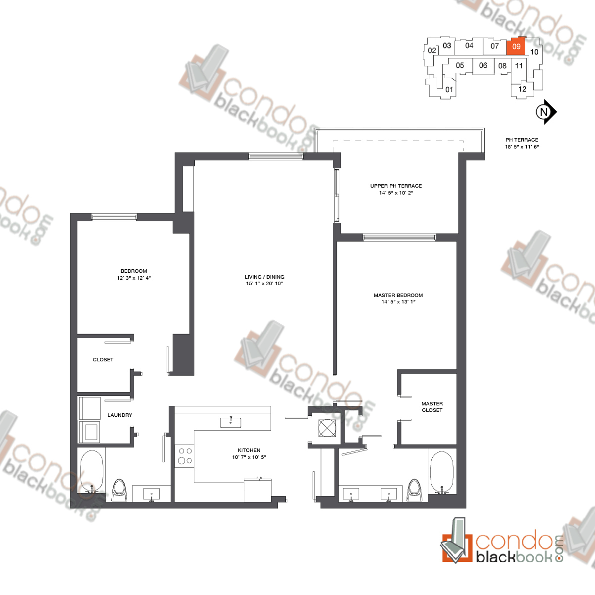 Floor plan for Nine at Mary Brickell Village Brickell Miami, model Penthouse 09, line 09, 2/2 bedrooms, 1,434 sq ft