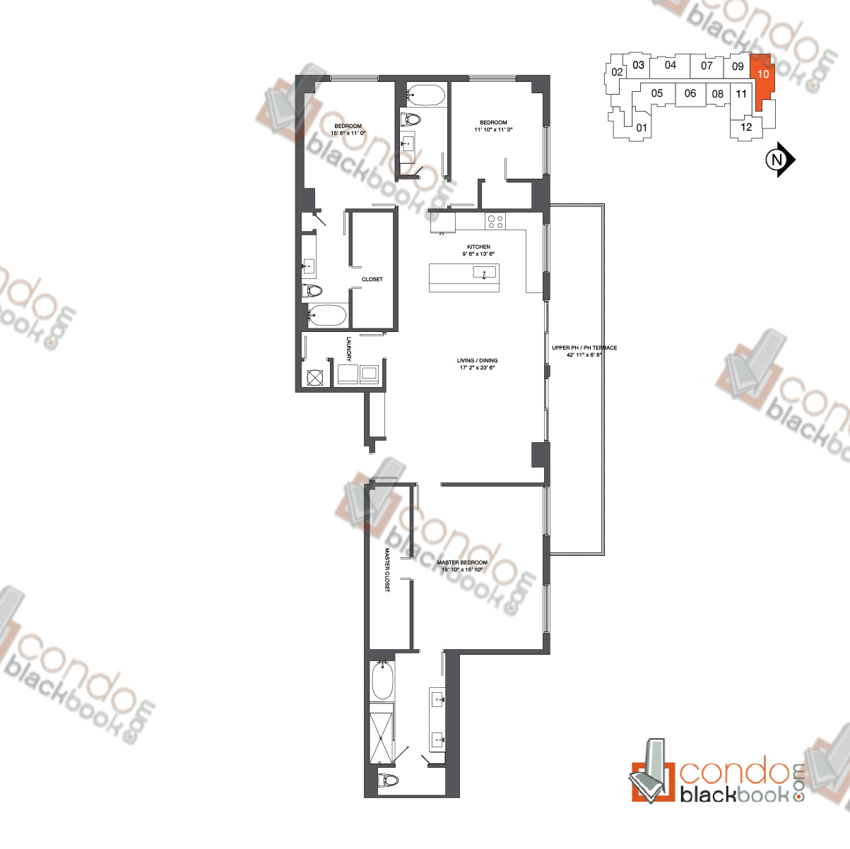 Floor plan for Nine at Mary Brickell Village Brickell Miami, model Penthouse 10, line 10, 3/3 bedrooms, 2,084 sq ft
