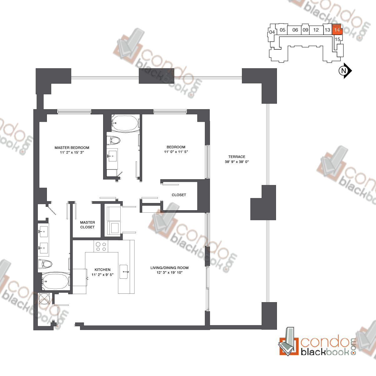 Floor plan for Nine at Mary Brickell Village Brickell Miami, model Residence 11_14, line 14, 2/2 bedrooms, 1,173 sq ft