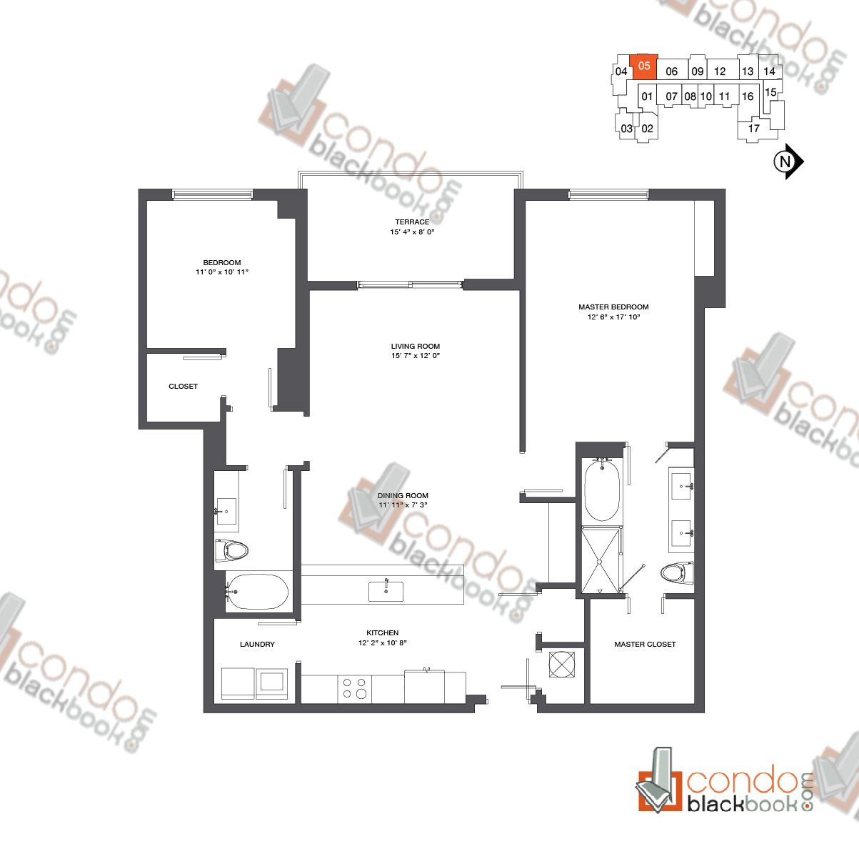 Floor plan for Nine at Mary Brickell Village Brickell Miami, model Residence 12-33_05, line 05, 2/2 bedrooms, 1,390 sq ft