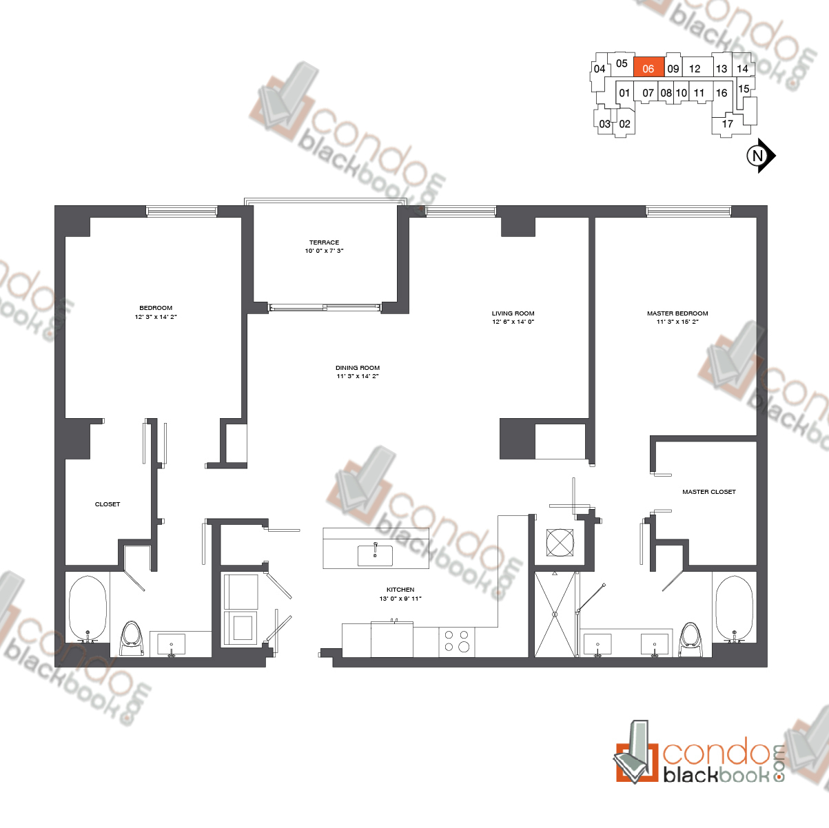 Floor plan for Nine at Mary Brickell Village Brickell Miami, model Residence 12-33_06, line 06, 2/2 bedrooms, 1,484 sq ft