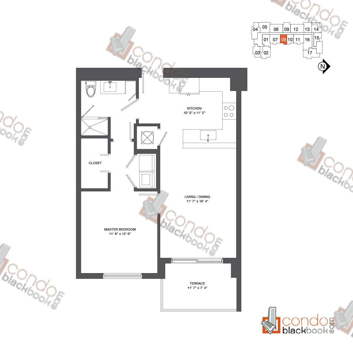 Floor plan for Nine at Mary Brickell Village Brickell Miami, model Residence 12-33_08, line 08, 1/1 bedrooms, 744 sq ft