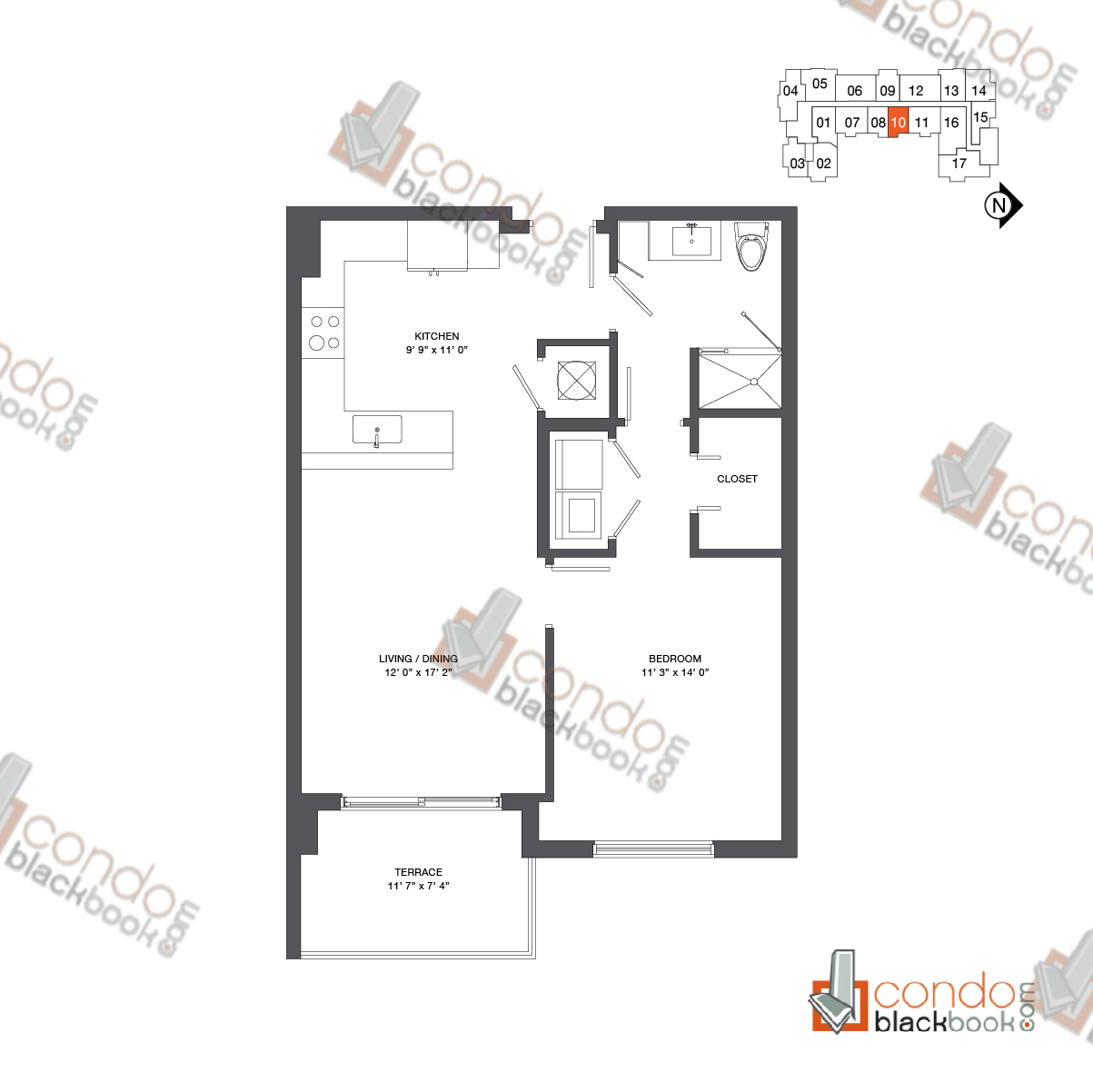 Floor plan for Nine at Mary Brickell Village Brickell Miami, model Residence 12-33_10, line 10, 1/1 bedrooms, 749 sq ft