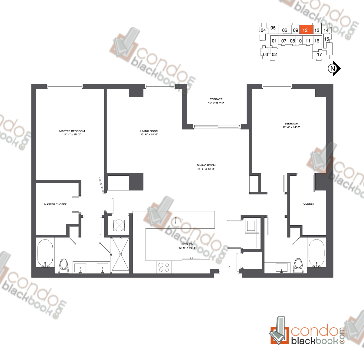Floor plan for Nine at Mary Brickell Village Brickell Miami, model Residence 12-33_12, line 12, 2/2 bedrooms, 1,489 sq ft