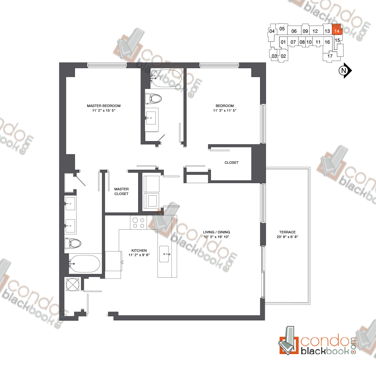 Floor plan for Nine at Mary Brickell Village Brickell Miami, model Residence 12-33_14, line 14, 2/2 bedrooms, 1,173 sq ft