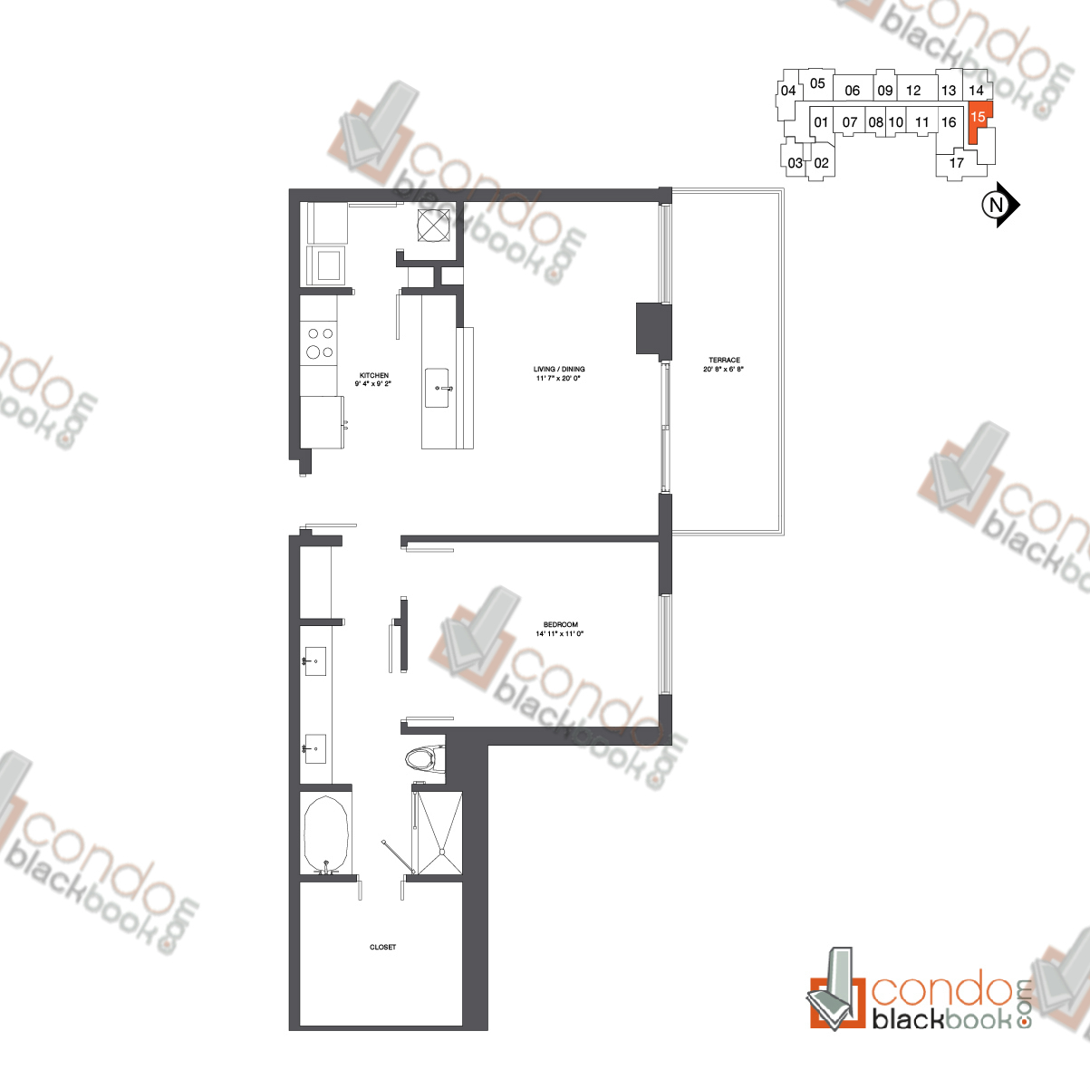 Floor plan for Nine at Mary Brickell Village Brickell Miami, model Residence 12-33_15, line 15, 1/1 bedrooms, 914 sq ft