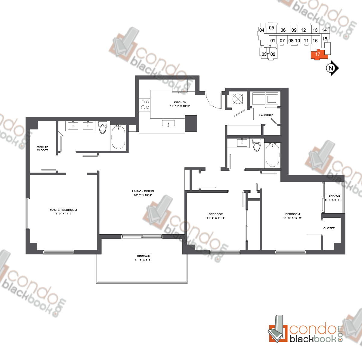Floor plan for Nine at Mary Brickell Village Brickell Miami, model Residence 12-33_17, line 17, 3/2 bedrooms, 1,596 sq ft