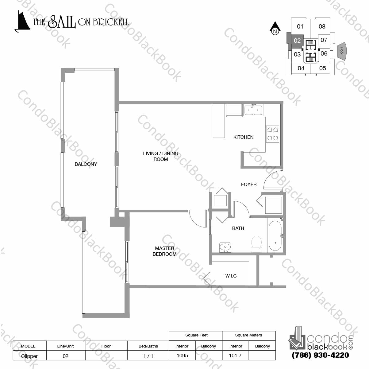 Floor plan for Sail on Brickell Brickell Miami, model Clipper, line 02, 2 / 2 bedrooms, 1095 sq ft