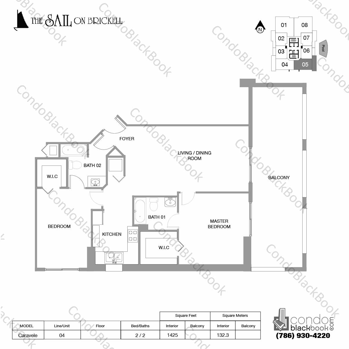Floor plan for Sail on Brickell Brickell Miami, model Caravele, line 05, 2 / 2 bedrooms, 1425 sq ft