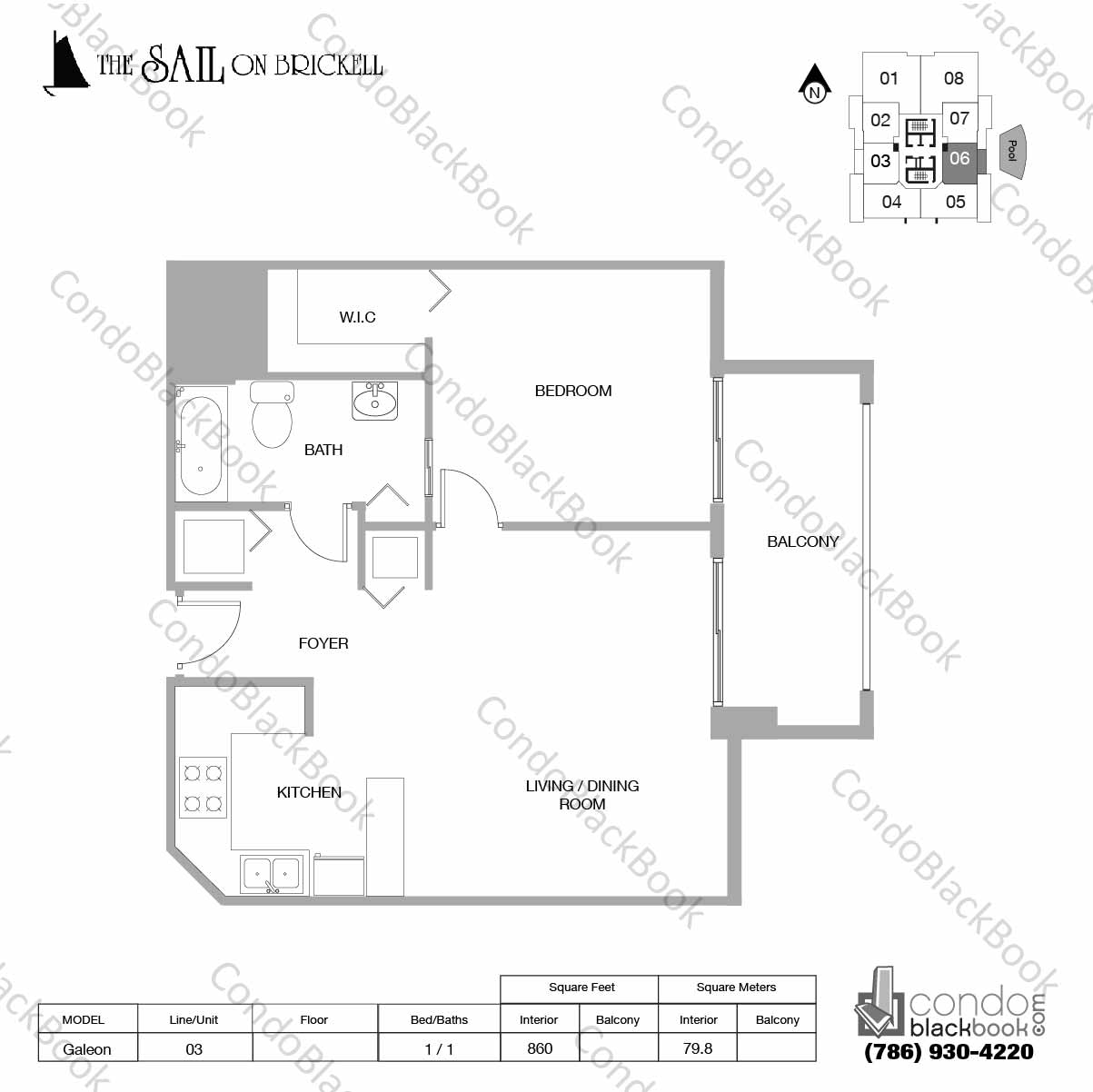 Floor plan for Sail on Brickell Brickell Miami, model Galeon, line 06, 1 / 1 bedrooms, 860 sq ft