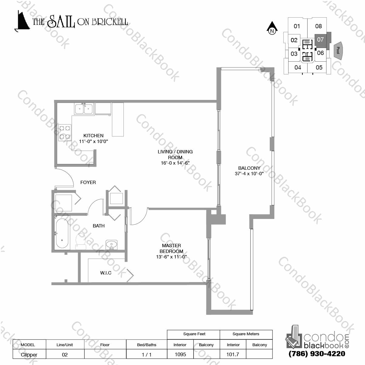 Floor plan for Sail on Brickell Brickell Miami, model Clipper, line 07, 2 / 2 bedrooms, 1095 sq ft