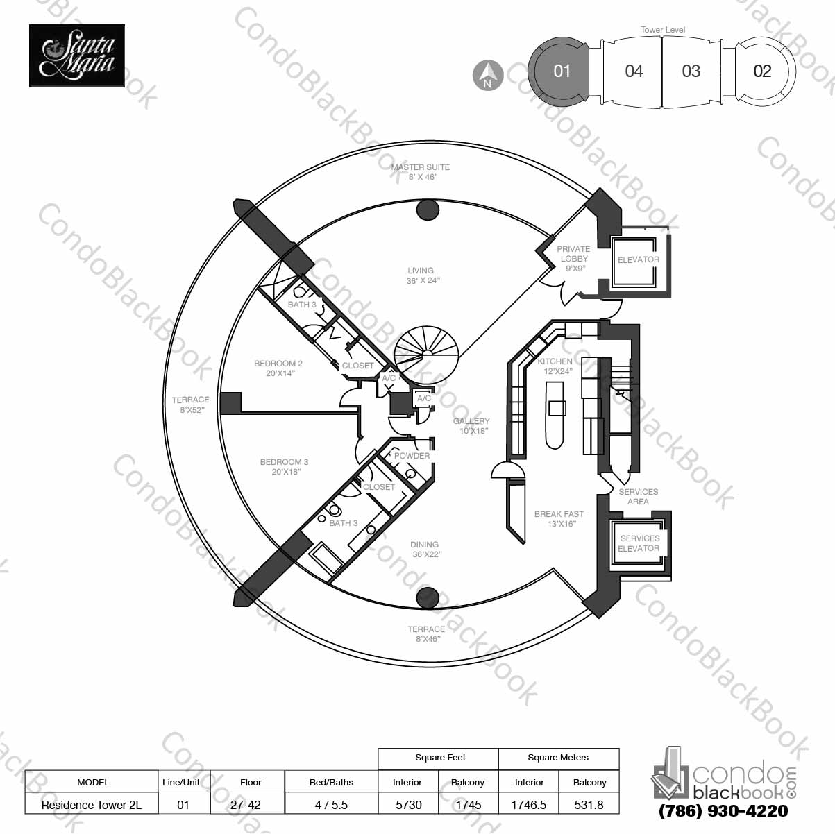 Floor plan for Santa Maria Brickell Miami, model Res. Tower 2L, line 01, 4 / 4.5 bedrooms, 5730 sq ft