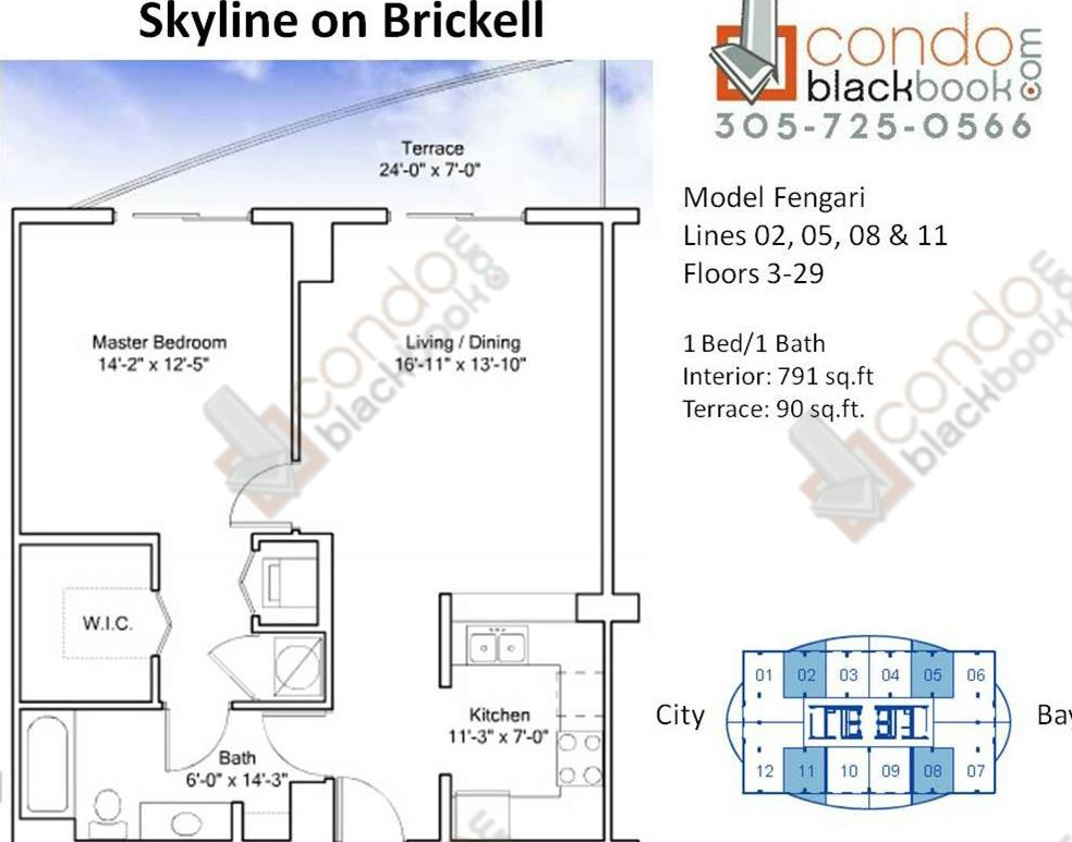 Floor plan for Skyline On Brickell Brickell Miami, model Fengari, line 02,05,08,11, 1/1 bedrooms, 791 sq ft