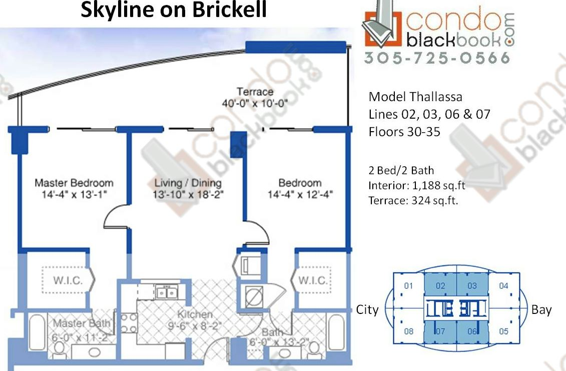 Floor plan for Skyline On Brickell Brickell Miami, model Thallassa, line 02,03,06,07, 2/2 bedrooms, 1,188 sq ft