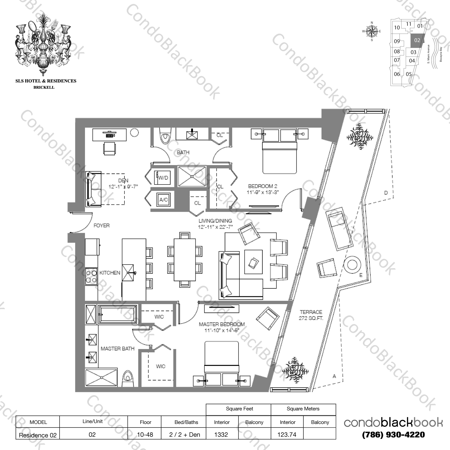 Floor plan for SLS Hotel & Residences Brickell Miami, model RESIDENCE 02, line 02, 2/2+Den bedrooms, 1,604 sq ft
