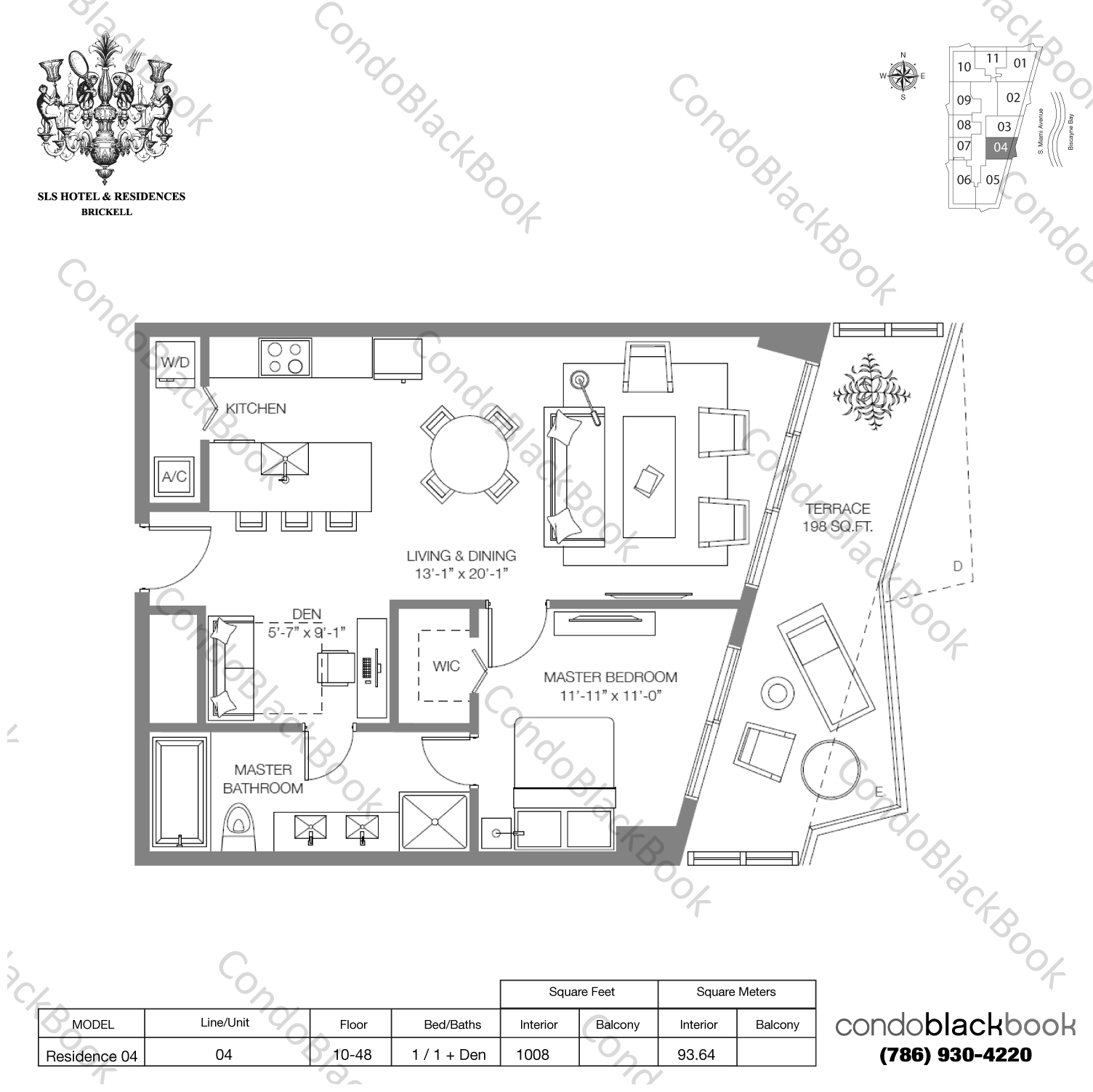 Floor plan for SLS Hotel & Residences Brickell Miami, model RESIDENCE 04, line 04, 1/1+Den bedrooms, 1,008 sq ft