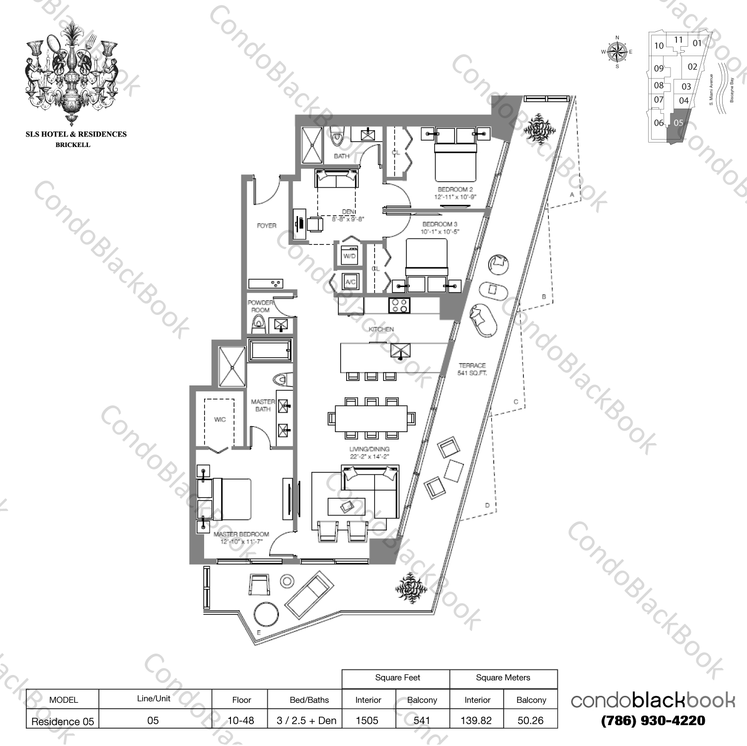Floor plan for SLS Hotel & Residences Brickell Miami, model RESIDENCE 05, line 05, 3/2.5+Den bedrooms, 2,046 sq ft