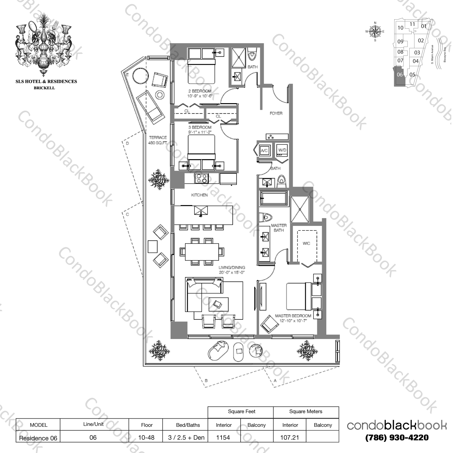 Floor plan for SLS Hotel & Residences Brickell Miami, model RESIDENCE 06, line 06, 3/2.5 bedrooms, 1,826 sq ft