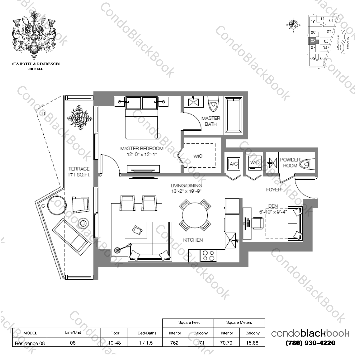 Floor plan for SLS Hotel & Residences Brickell Miami, model RESIDENCE 08, line 08, 1/1.5+Den bedrooms, 933 sq ft
