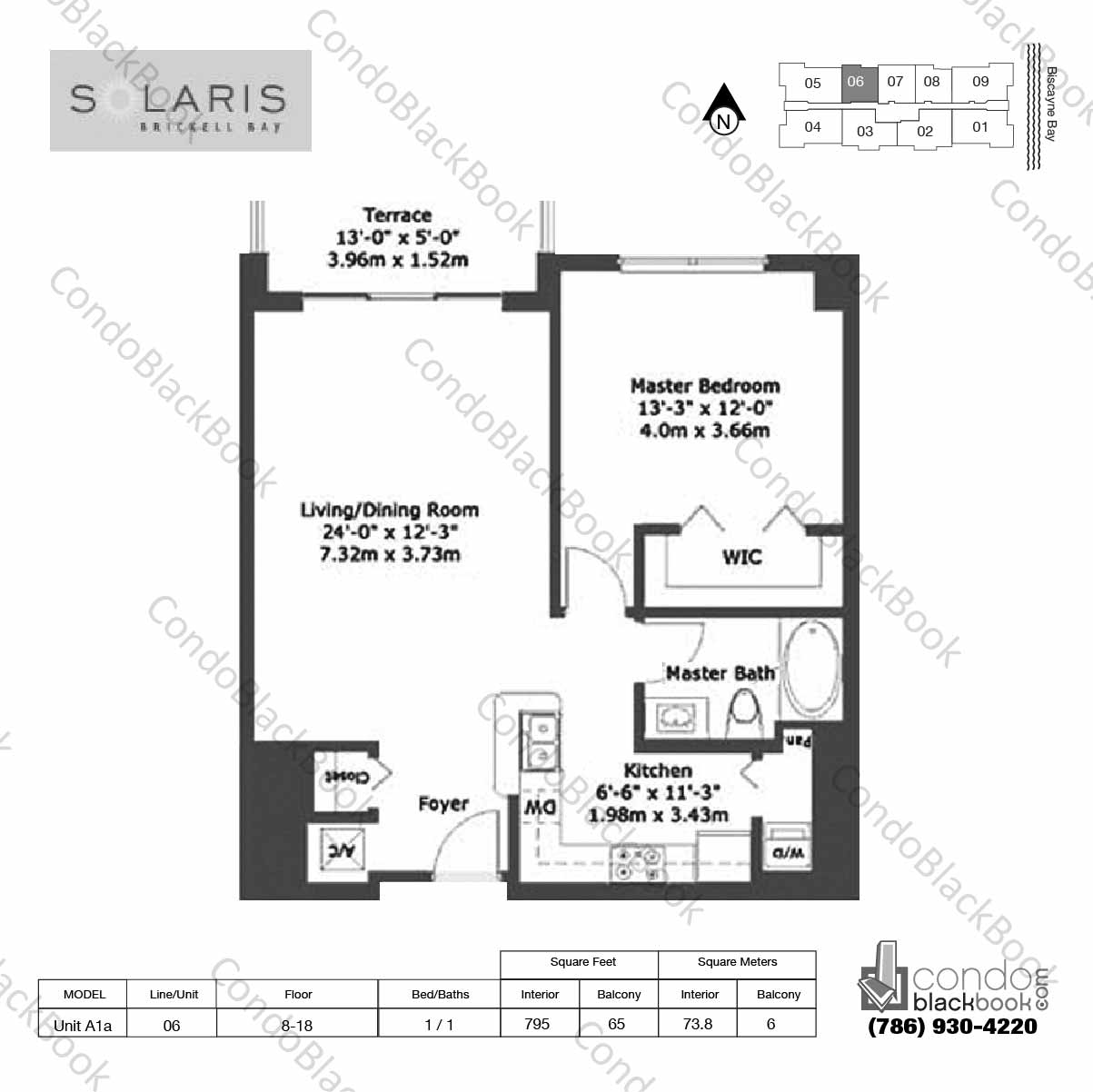 Floor plan for Solaris at Brickell Brickell Miami, model Unit A1a, line 06, 1 / 1 bedrooms, 795 sq ft