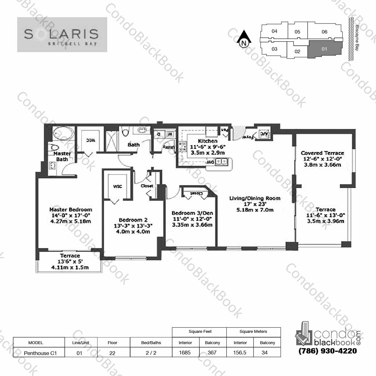 Floor plan for Solaris at Brickell Brickell Miami, model Penthouse C1, line 01, 2 / 2 bedrooms, 1685 sq ft