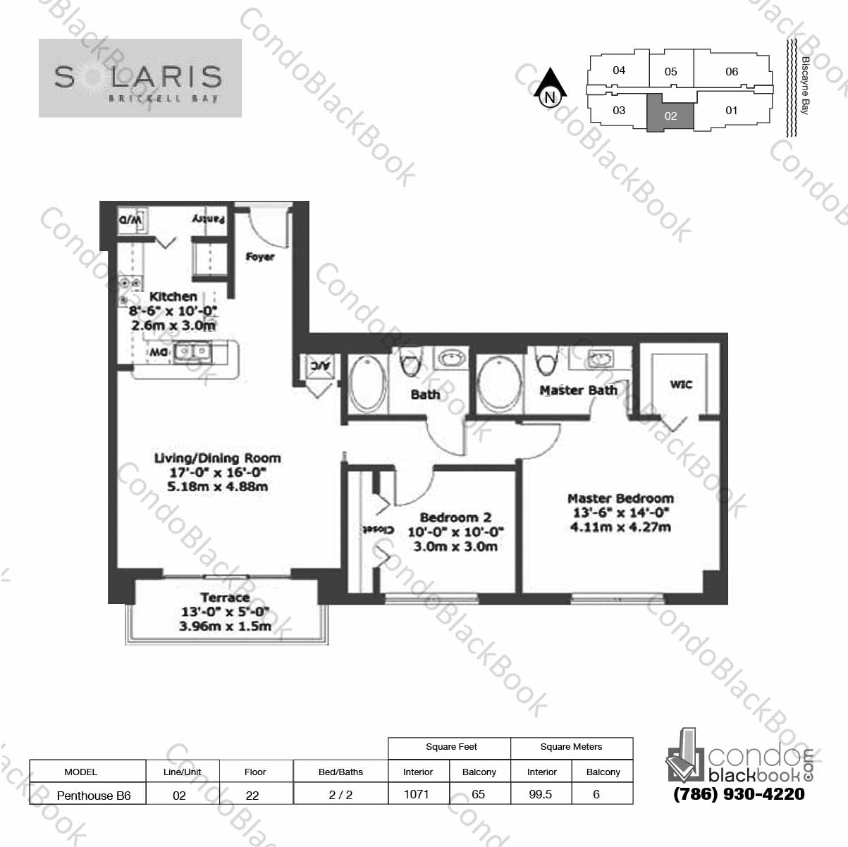Floor plan for Solaris at Brickell Brickell Miami, model Penthouse B6, line 02,  2 / 2 bedrooms, 1071 sq ft