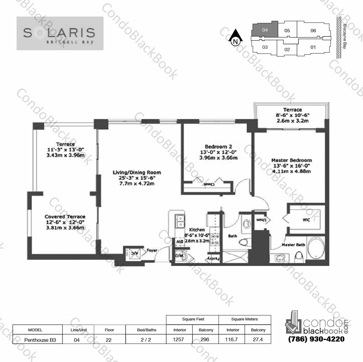 Floor plan for Solaris at Brickell Brickell Miami, model Penthouse B3, line 04,  2 / 2 bedrooms, 1257 sq ft