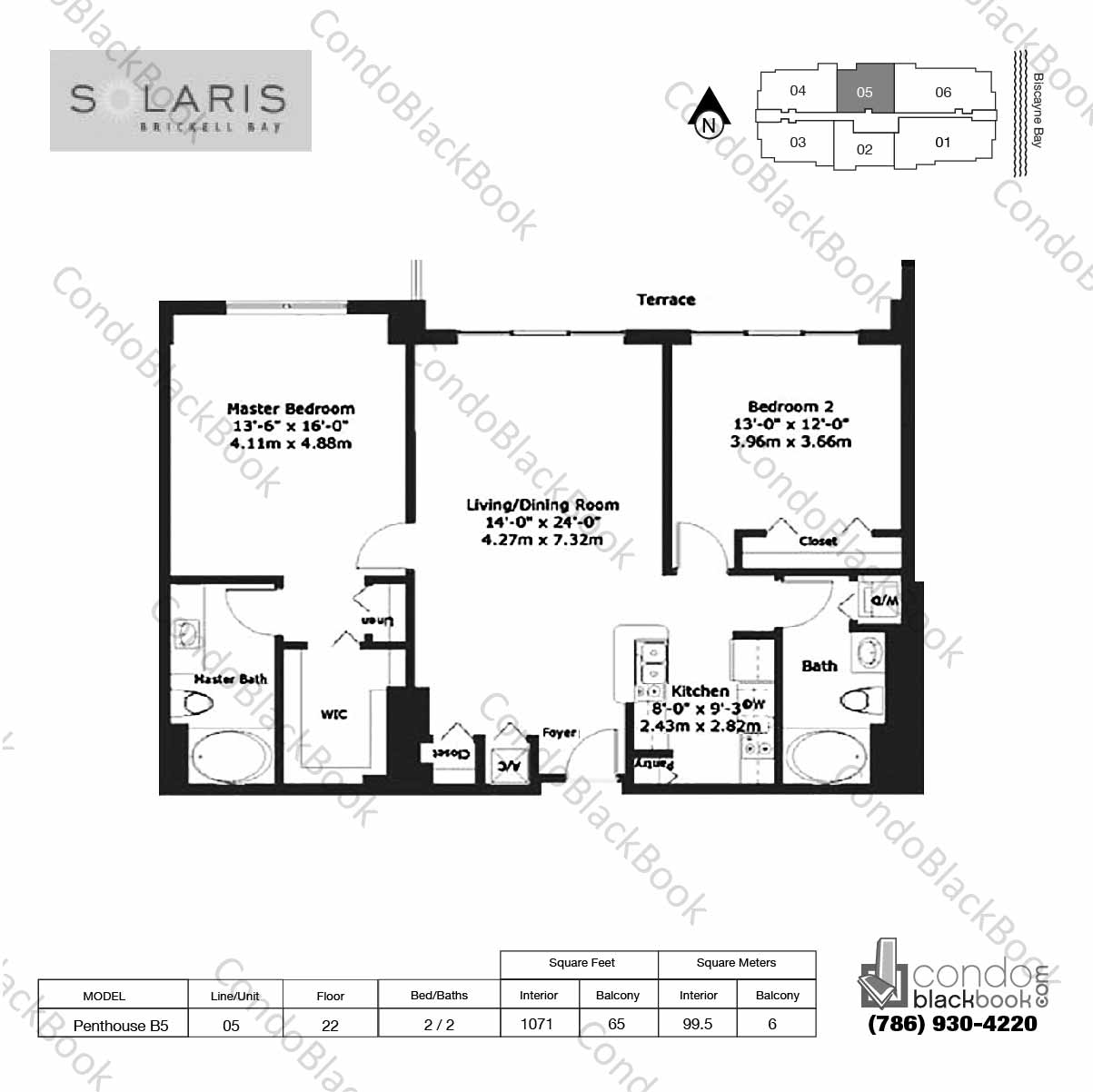 Floor plan for Solaris at Brickell Brickell Miami, model Penthouse B5, line 05,  2 / 2 bedrooms, 1071 sq ft