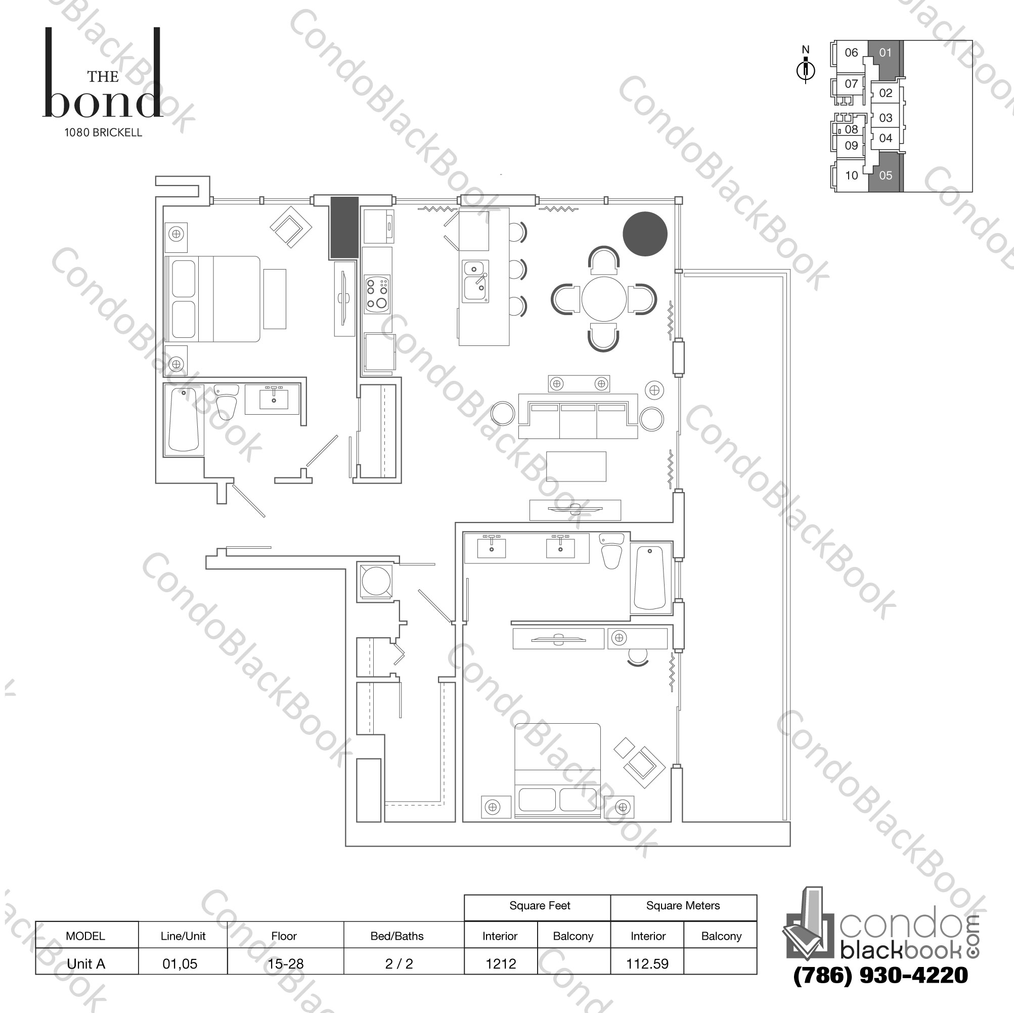 Floor plan for The Bond Brickell Miami, model UNIT A, line 01,05, 2/2 bedrooms, 1,212 sq ft