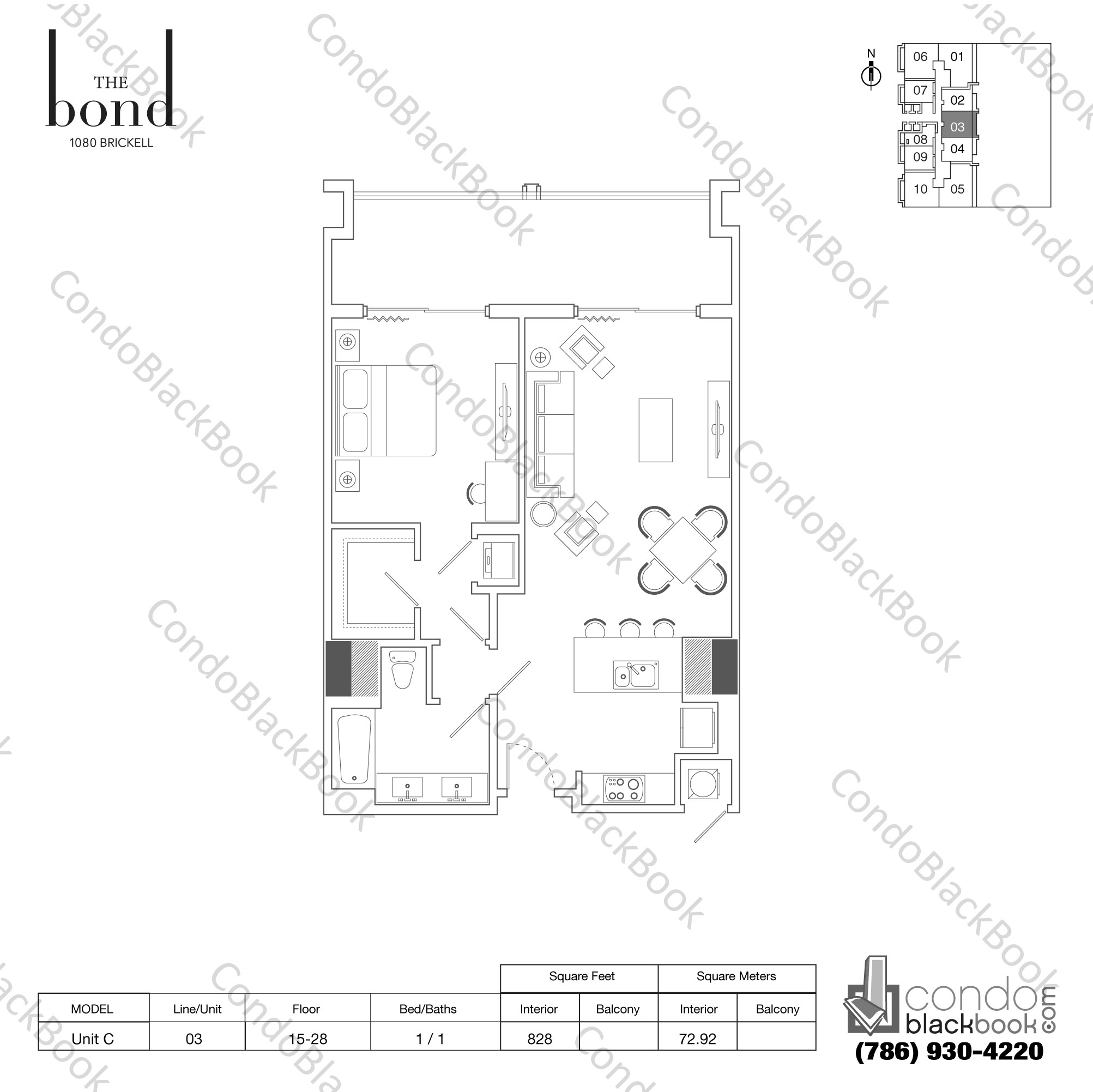 Floor plan for The Bond Brickell Miami, model UNIT C, line -, 1/1 bedrooms, 828 sq ft