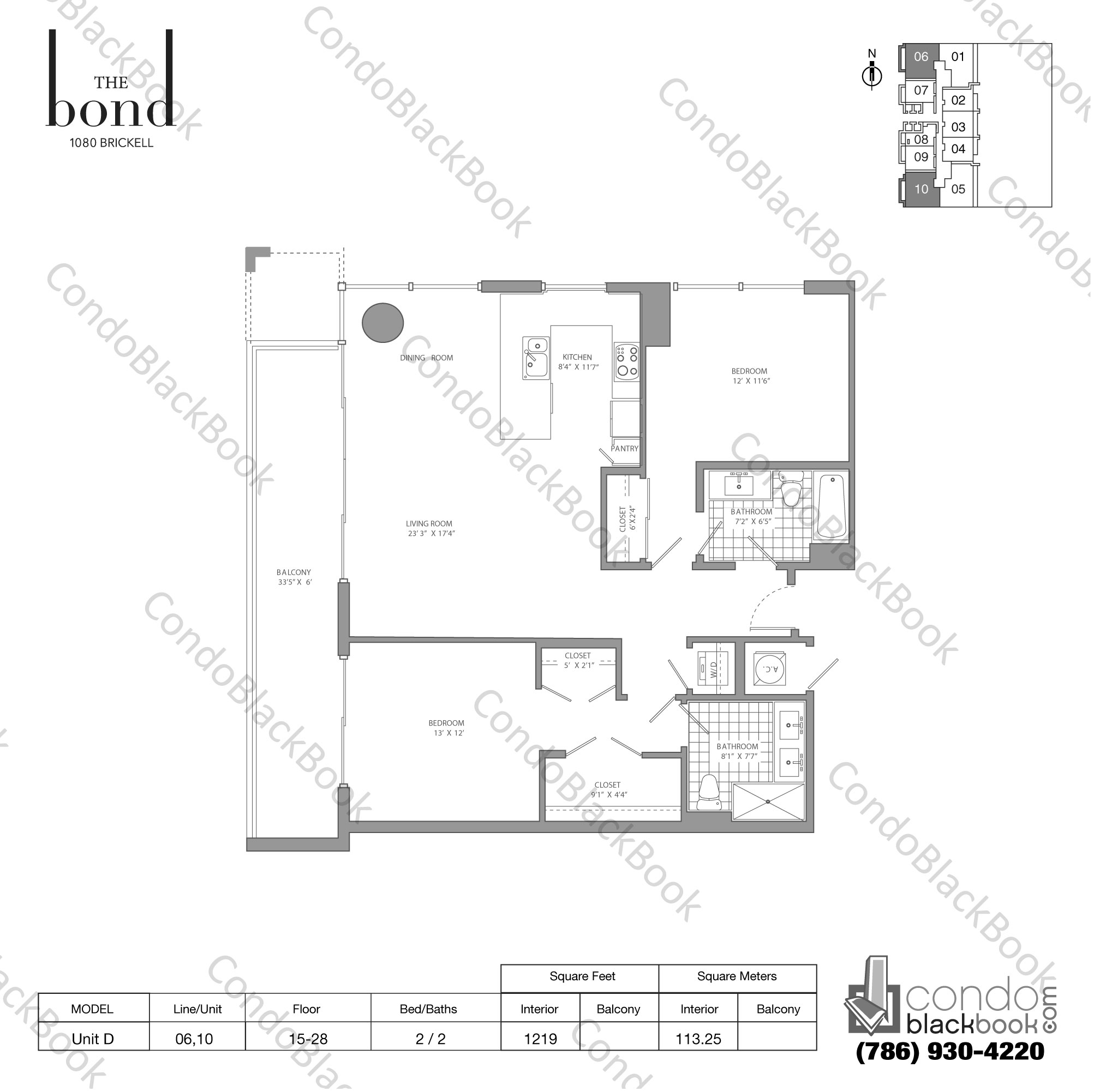 Floor plan for The Bond Brickell Miami, model UNIT D, line -, 2/2 bedrooms, 1,218 sq ft